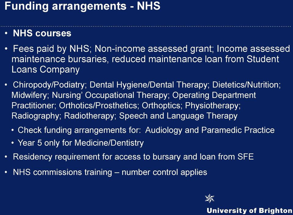 Practitioner; Orthotics/Prosthetics; Orthoptics; Physiotherapy; Radiography; Radiotherapy; Speech and Language Therapy Check funding arrangements for: