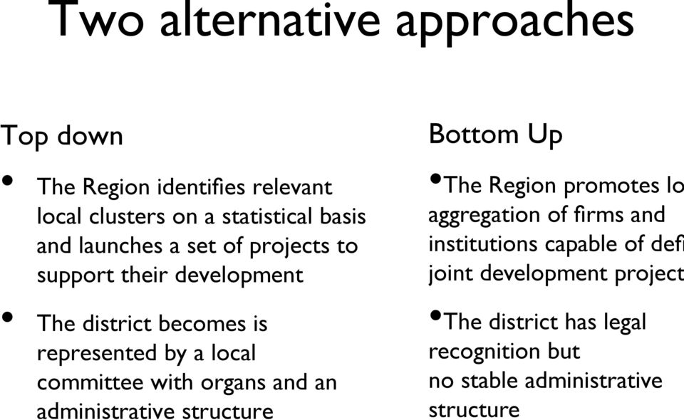with organs and an administrative structure Bottom Up The Region promotes lo aggregation of firms and