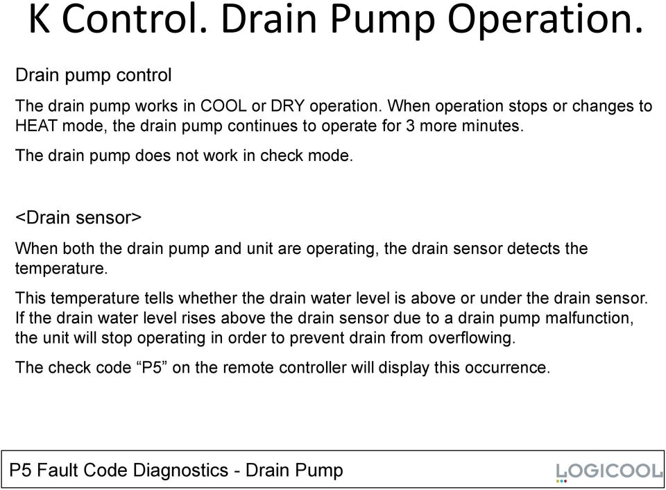 <Drain sensor> When both the drain pump and unit are operating, the drain sensor detects the temperature.