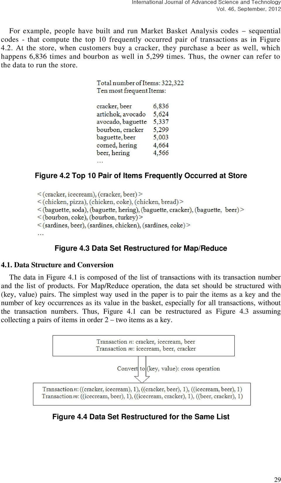 Figure 4.2 Top 10 Pair of Items Frequently Occurred at Store Figure 4.3 Data Set Restructured for Map/Reduce 4.1. Data Structure and Conversion The data in Figure 4.