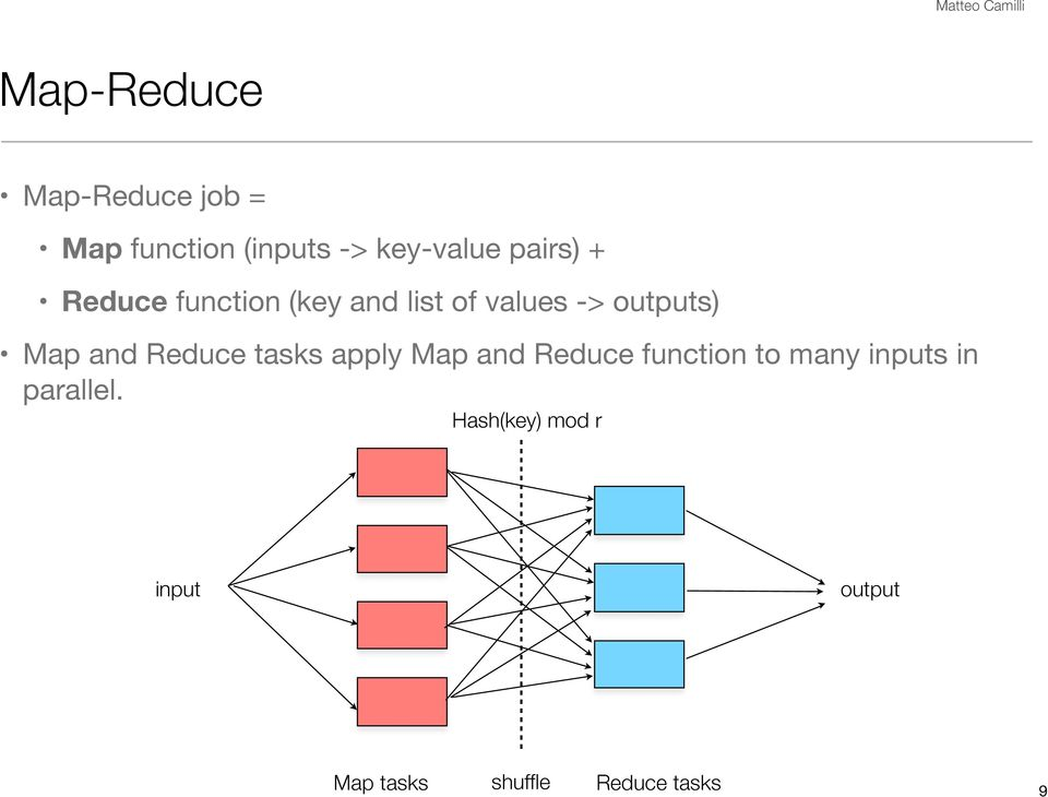 and Reduce tasks apply Map and Reduce function to many inputs in