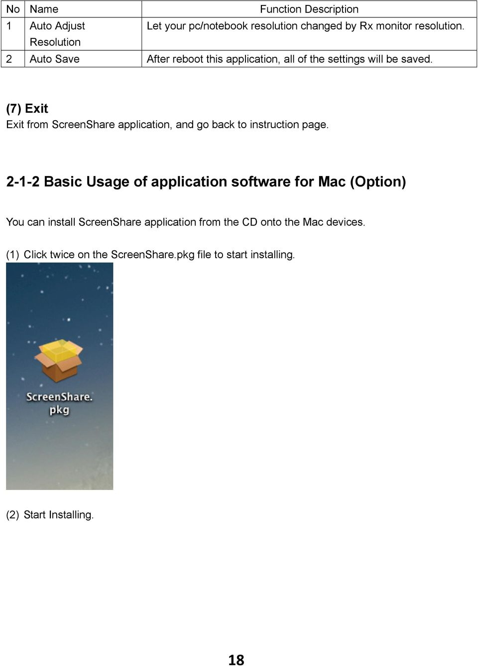 (7) Exit Exit from ScreenShare application, and go back to instruction page.