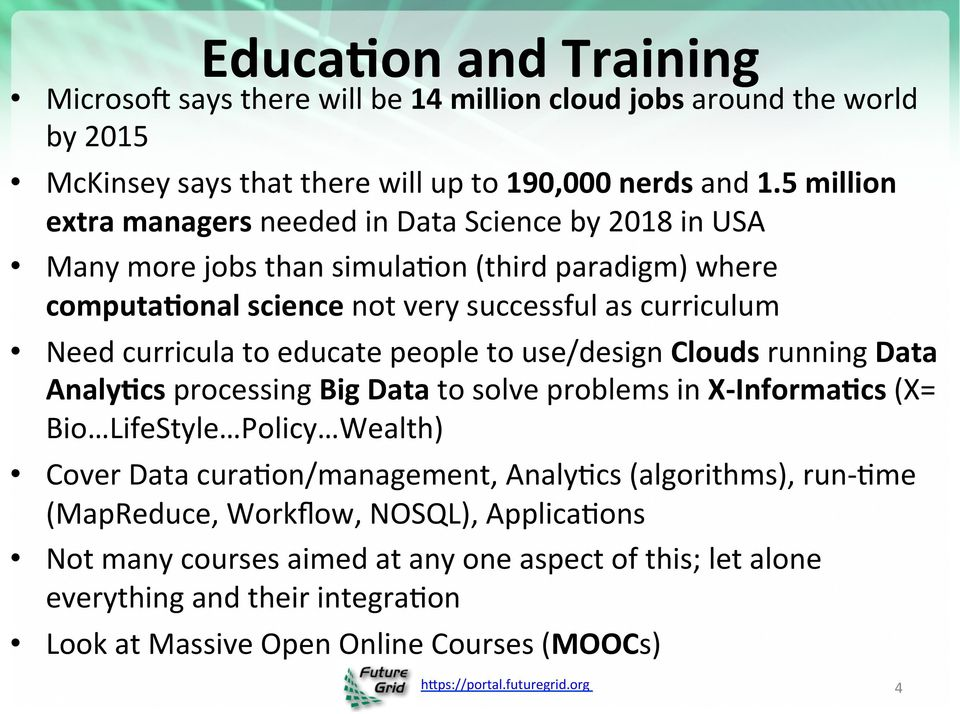 curricula to educate people to use/design Clouds running Data Analy5cs processing Big Data to solve problems in X- Informa5cs (X= Bio LifeStyle Policy Wealth) Cover Data