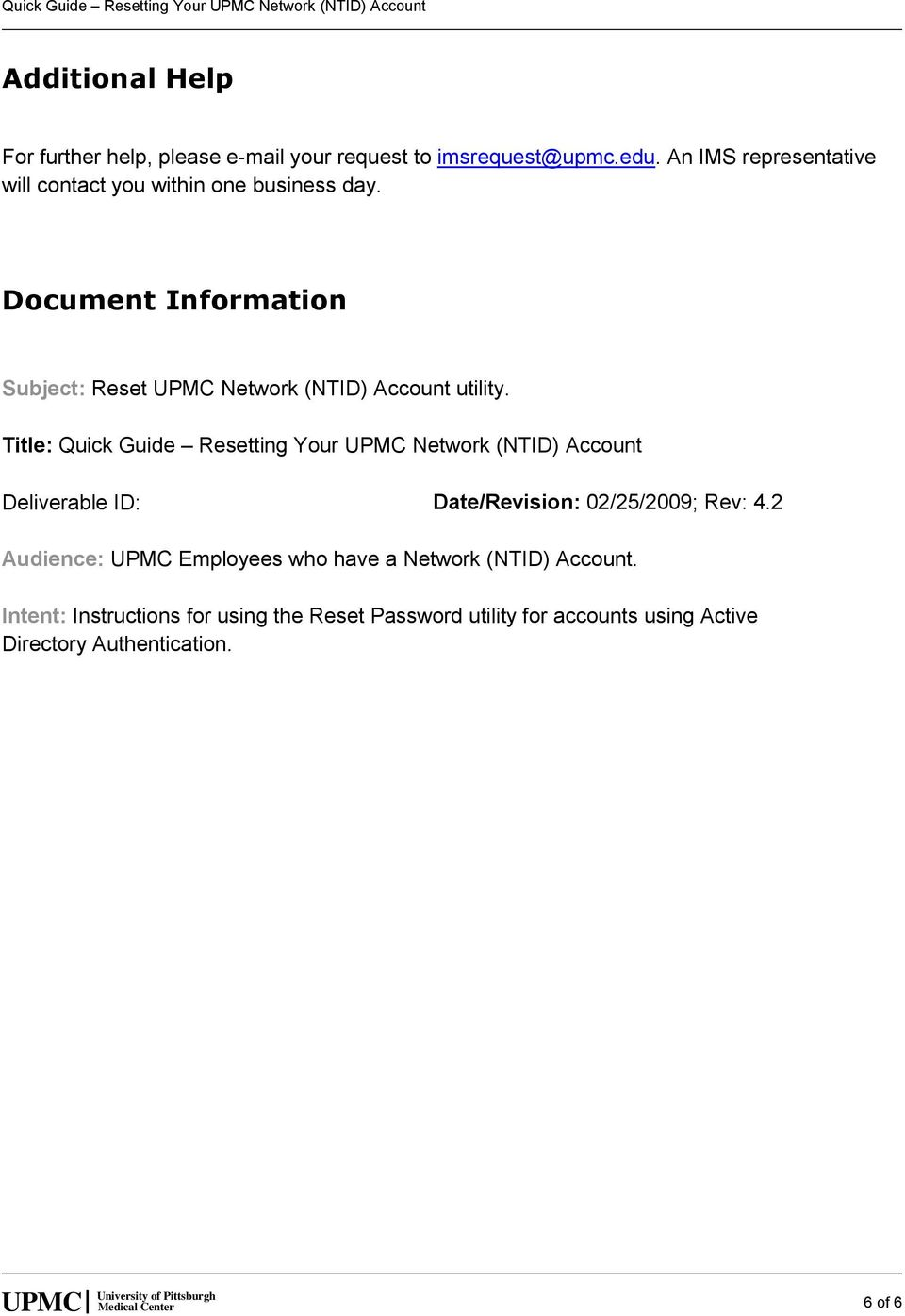 Quick Guide Resetting Your UPMC Network (NTID) Account - PDF