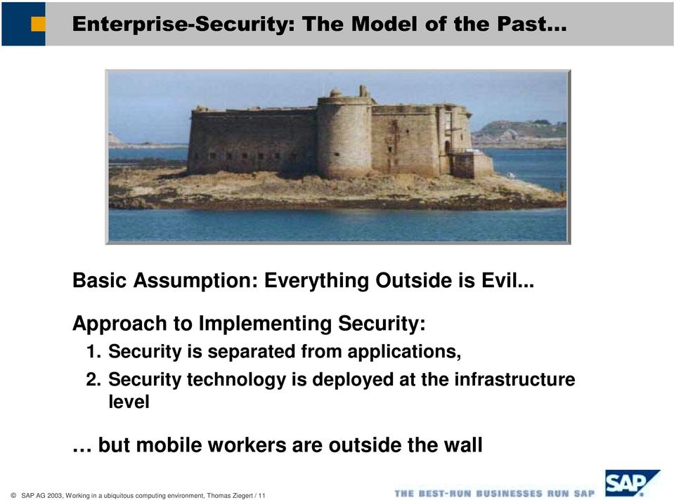 Security technology is deployed at the infrastructure level but mobile workers are