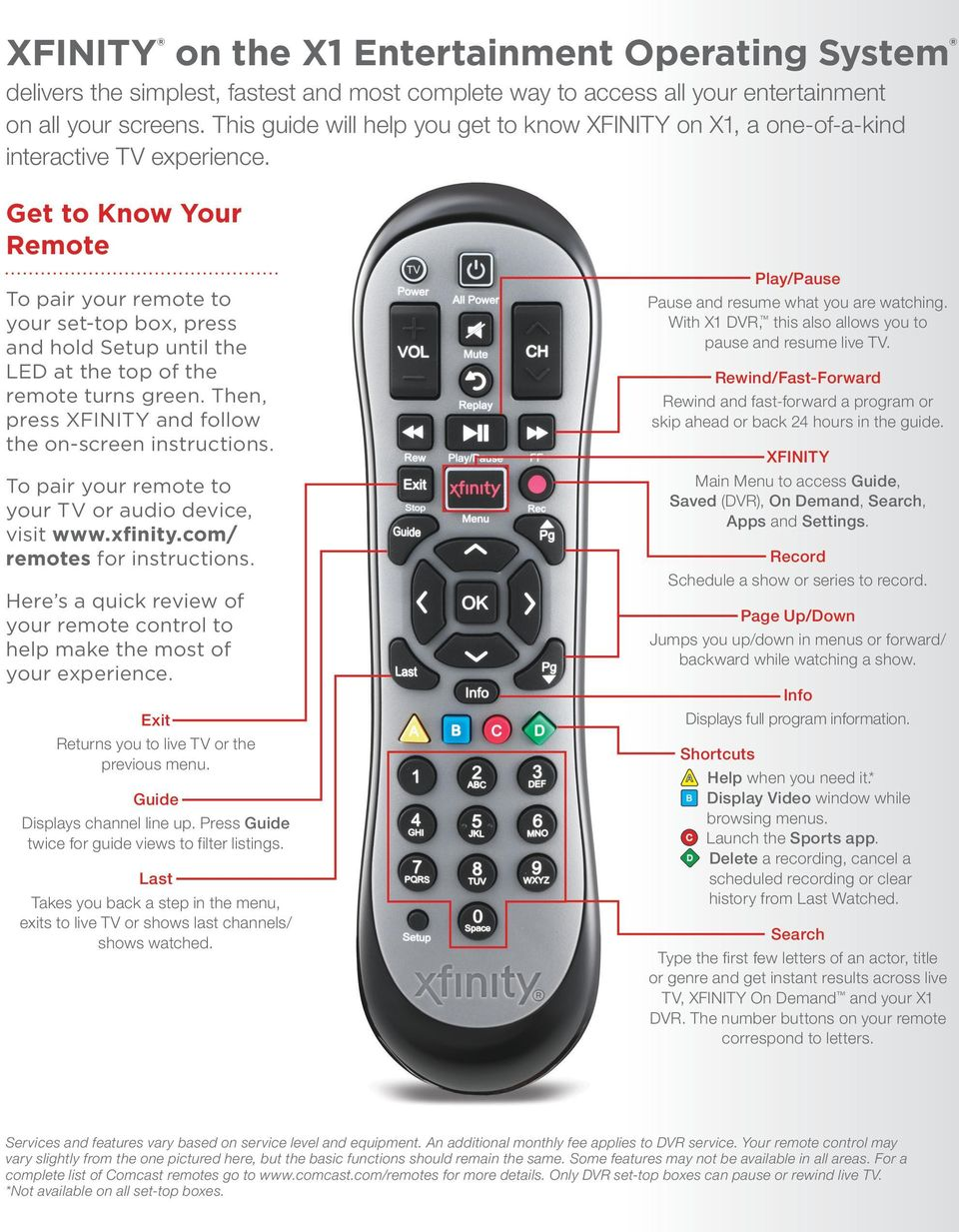 Get to Know Your Remote To pair your remote to your set-top box, press and hold Setup until the LED at the top of the remote turns green. Then, press XFINITY and follow the on screen instructions.