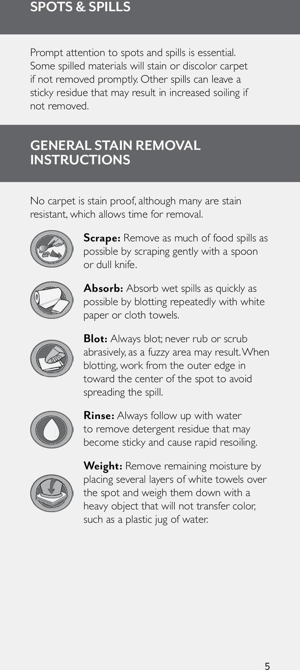 GENERAL STAIN REMOVAL INSTRUCTIONS No carpet is stain proof, although many are stain resistant, which allows time for removal.