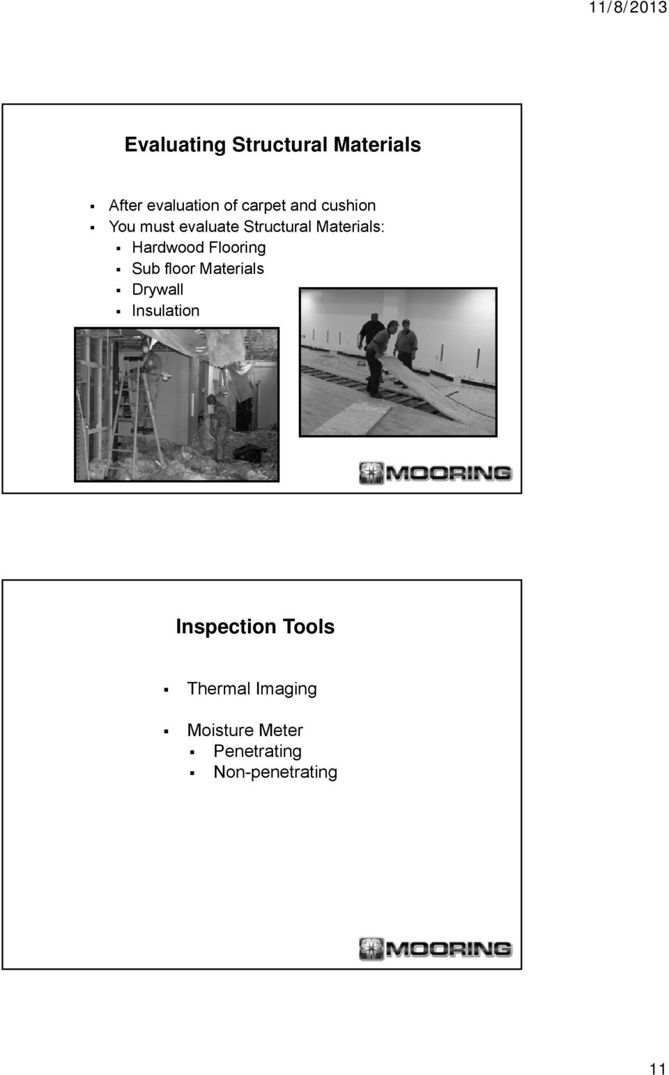 Flooring Sub floor Materials Drywall Insulation Inspection