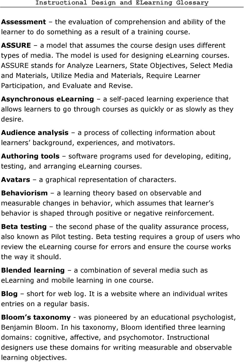 ASSURE stands for Analyze Learners, State Objectives, Select Media and Materials, Utilize Media and Materials, Require Learner Participation, and Evaluate and Revise.