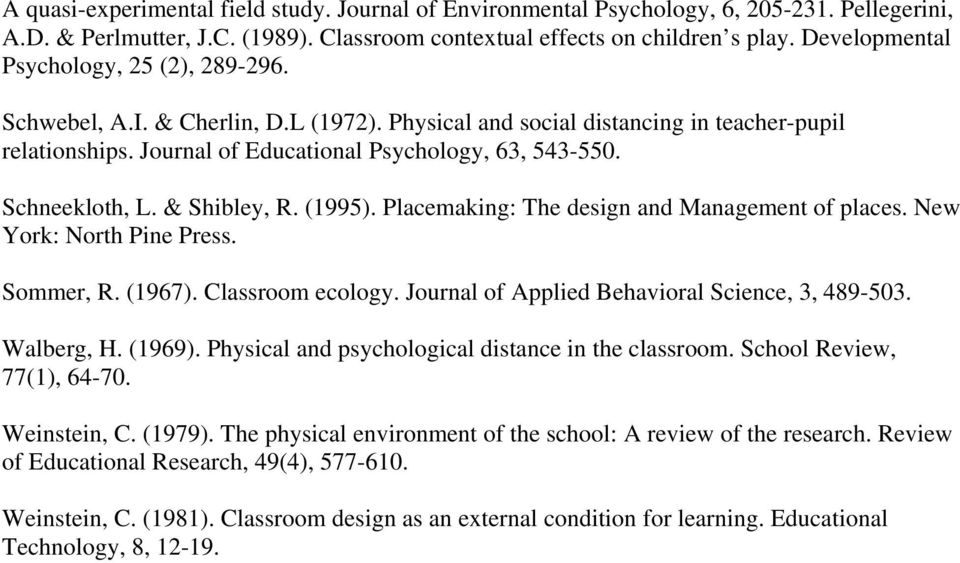 Schneekloth, L. & Shibley, R. (1995). Placemaking: The design and Management of places. New York: North Pine Press. Sommer, R. (1967). Classroom ecology.