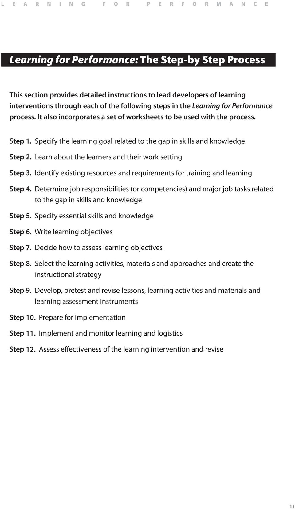 Learn about the learners and their work setting Step 3. Identify existing resources and requirements for training and learning Step 4.