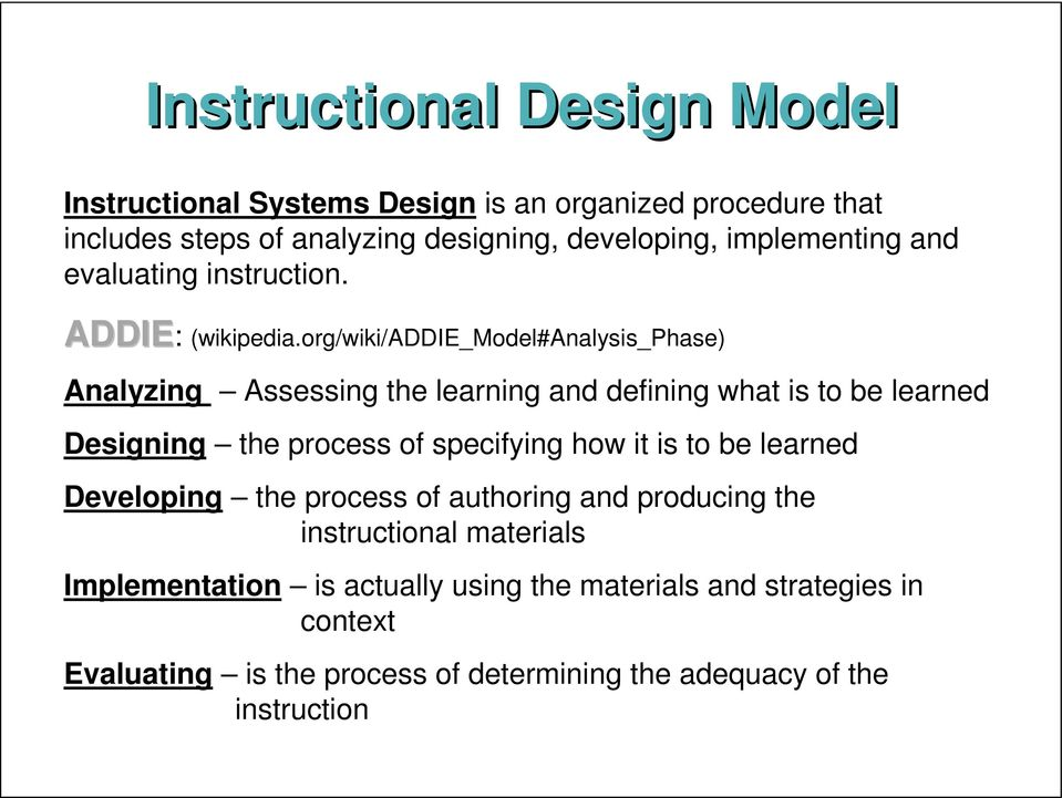 org/wiki/addie_model#analysis_phase) Analyzing Assessing the learning and defining what is to be learned Designing the process of specifying how