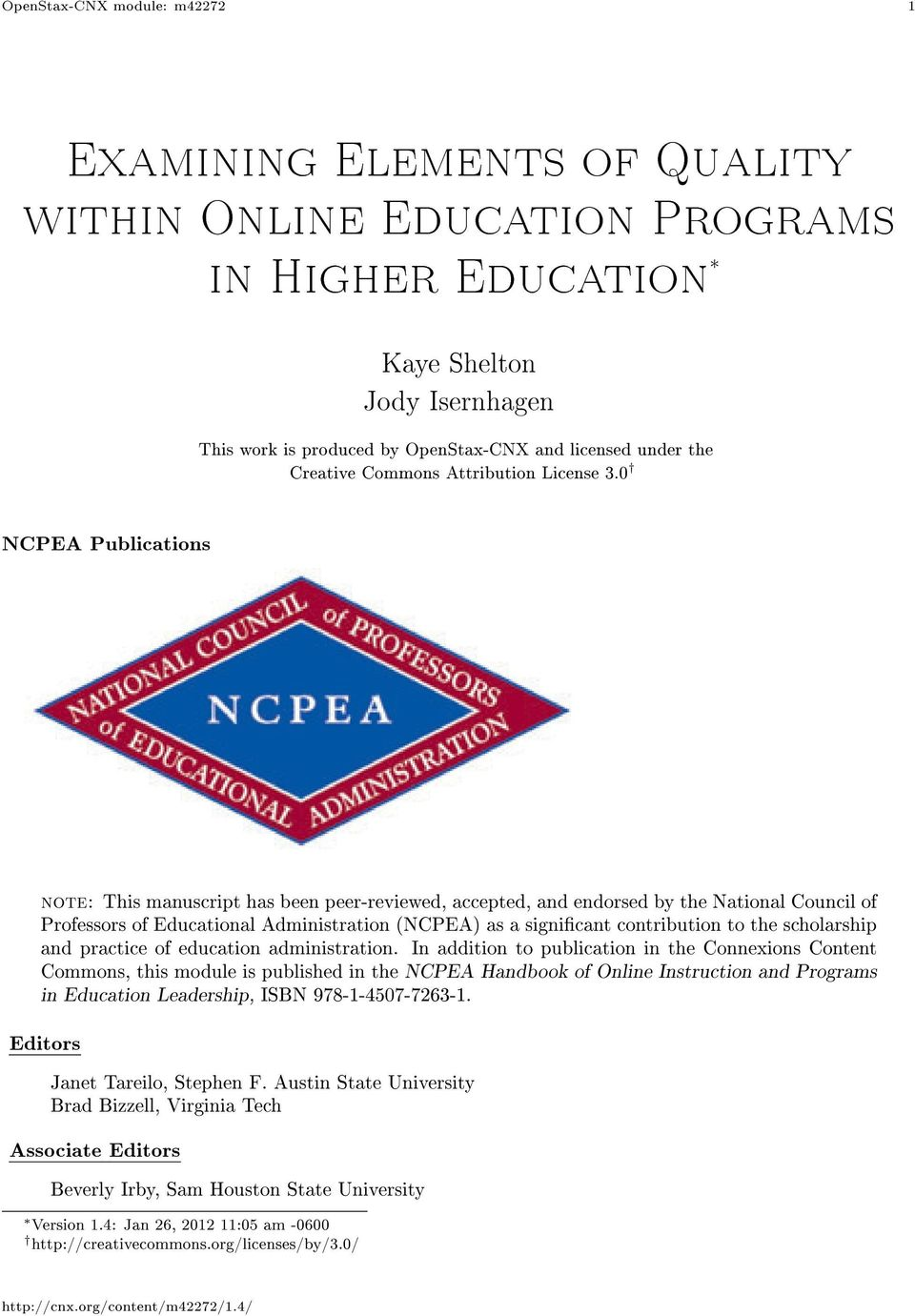 0 NCPEA Publications note: This manuscript has been peer-reviewed, accepted, and endorsed by the National Council of Professors of Educational Administration (NCPEA) as a signicant contribution to