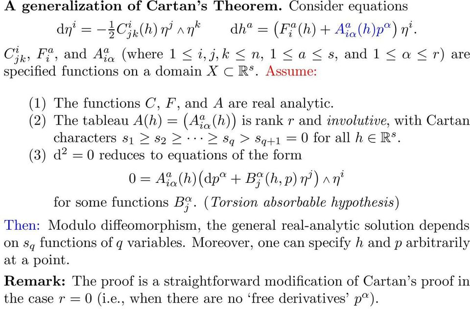 (2) The tableau A(h) = ( A a iα (h)) is rank r and involutive, withcartan characters s 1 s 2 s q >s q+1 =0forallh R s.