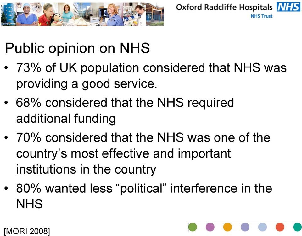 68% considered that the NHS required additional funding 70% considered that the