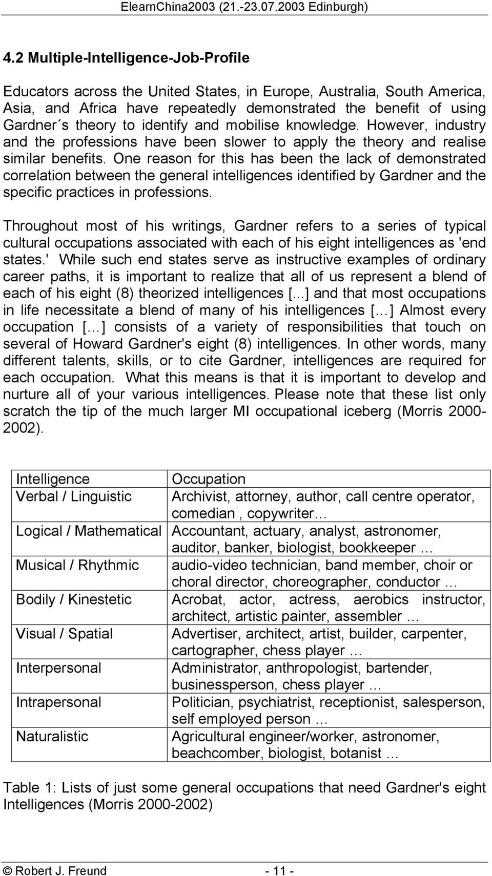 One reason for this has been the lack of demonstrated correlation between the general intelligences identified by Gardner and the specific practices in professions.