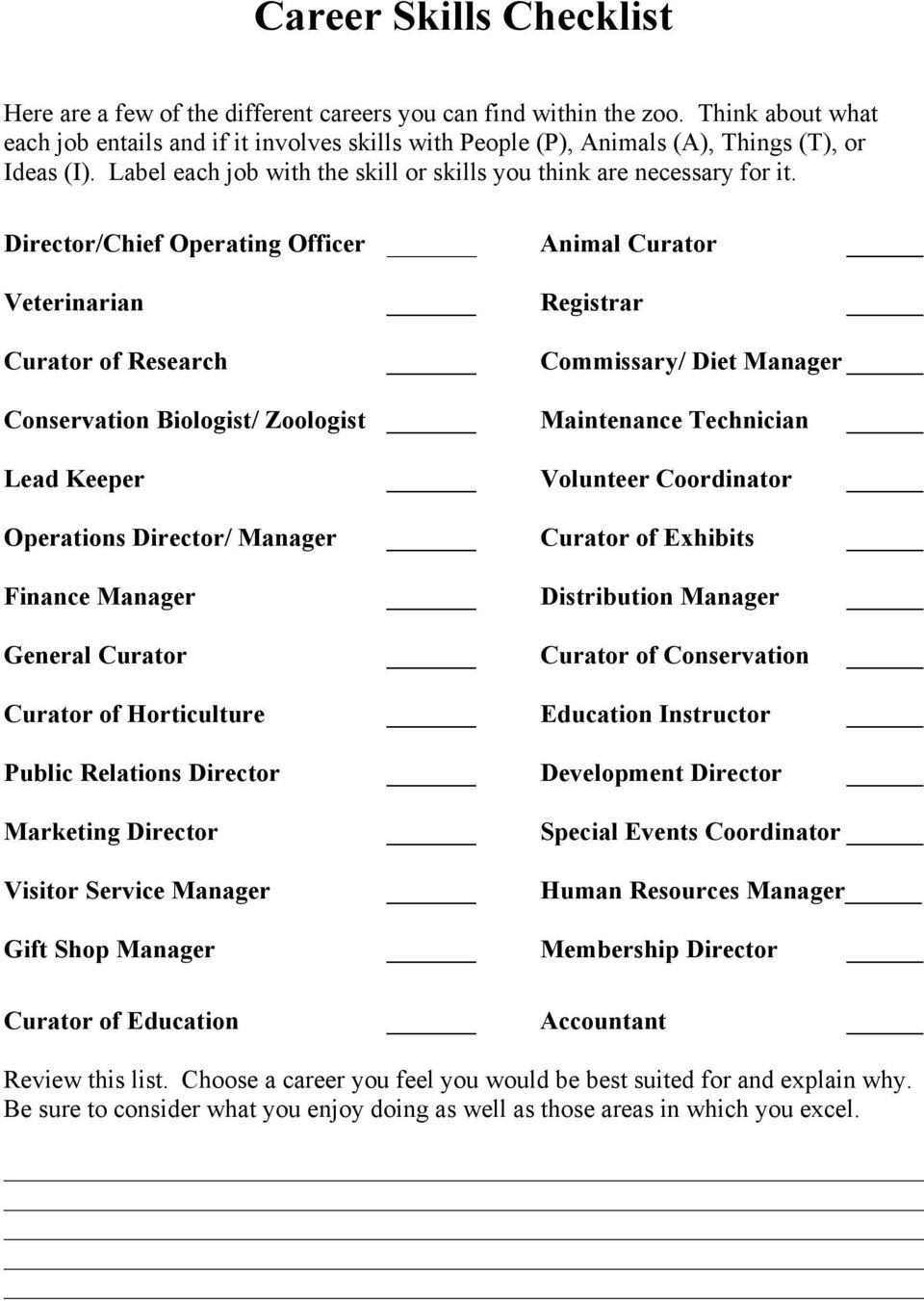 Director/Chief Operating Officer Animal Curator Veterinarian Registrar Curator of Research Commissary/ Diet Manager Conservation Biologist/ Zoologist Maintenance Technician Lead Keeper Volunteer