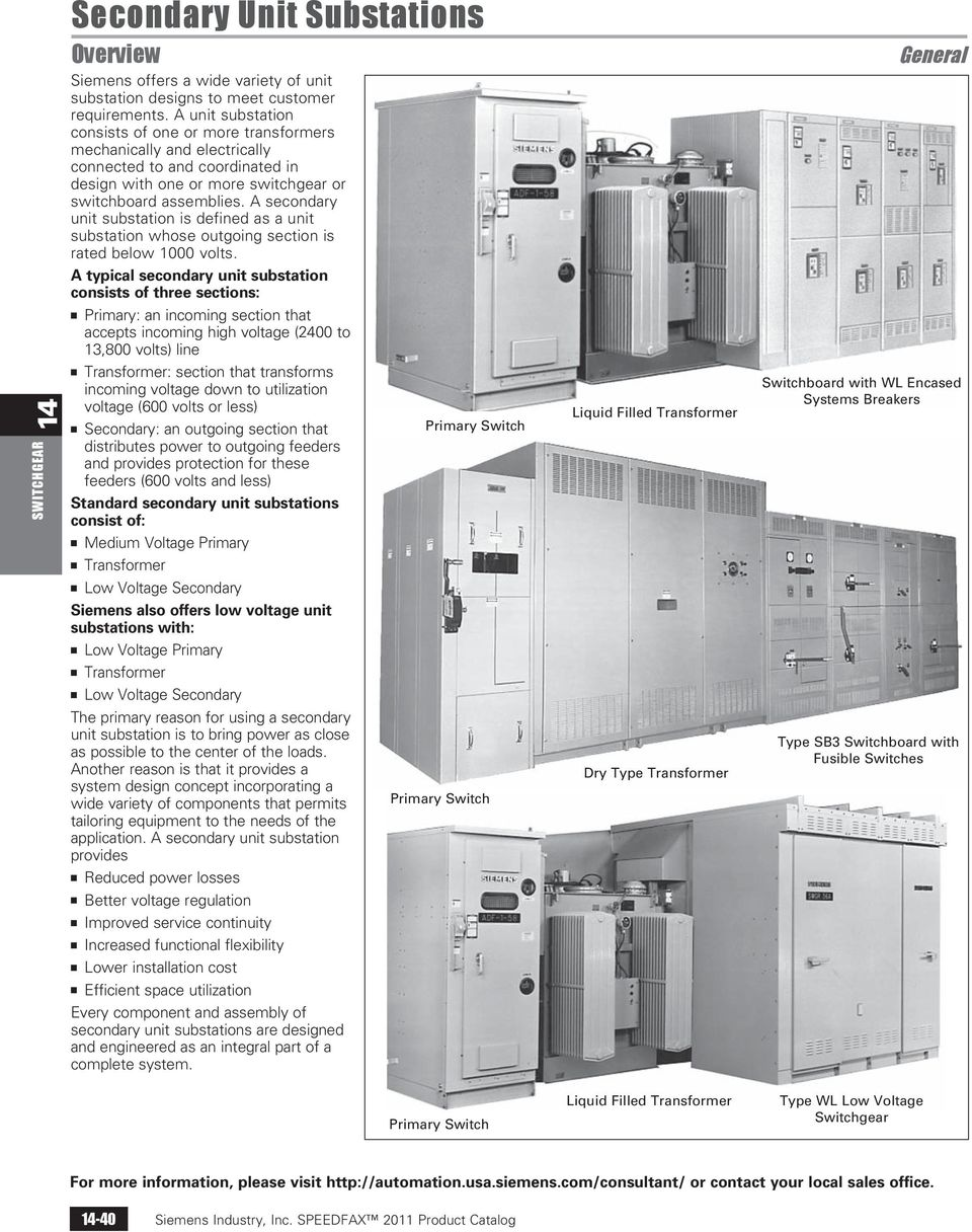 A secondary unit substation is defined as a unit substation whose outgoing section is rated below 1000 volts.