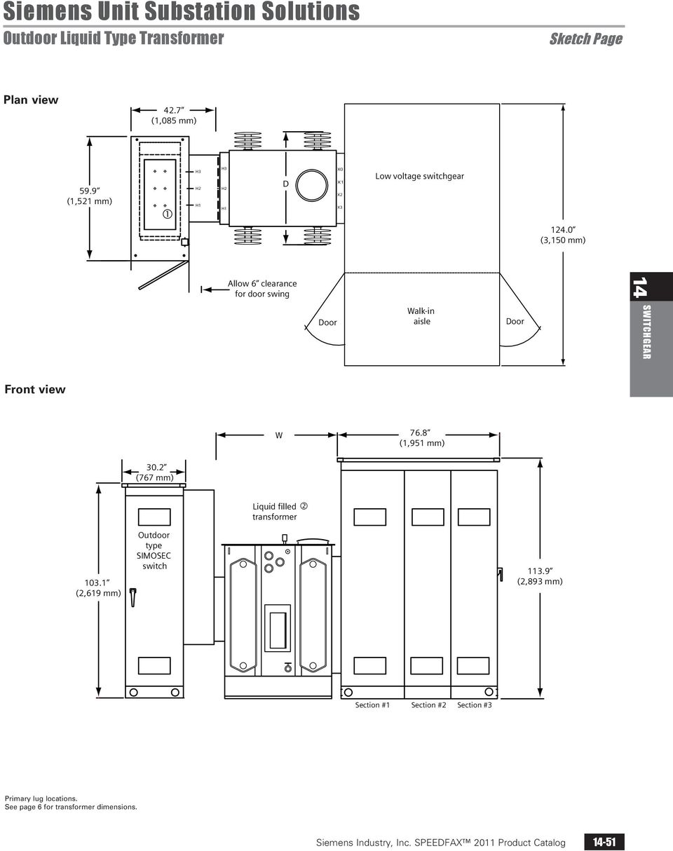 0 (3,150 mm) Allow 6 clearance for door swing Door Walk-in aisle Door 14 SWITCHGEAR Front view W 76.8 (1,951 mm) 30.