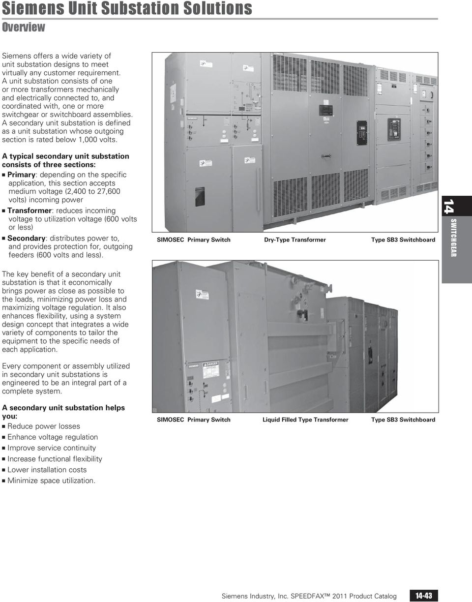 A secondary unit substation is defined as a unit substation whose outgoing section is rated below 1,000 volts.