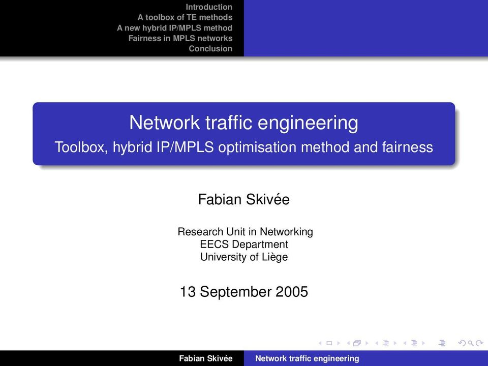 Research Unit in Networking EECS