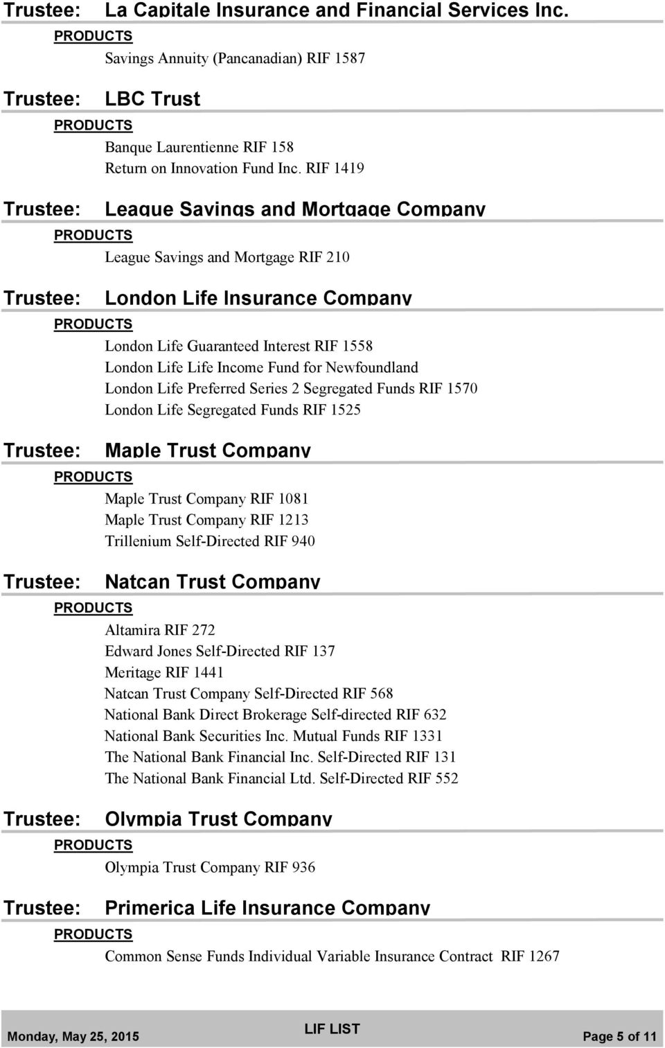 London Life Preferred Series 2 Segregated Funds RIF 1570 London Life Segregated Funds RIF 1525 Maple Trust Company Maple Trust Company RIF 1081 Maple Trust Company RIF 1213 Trillenium Self-Directed