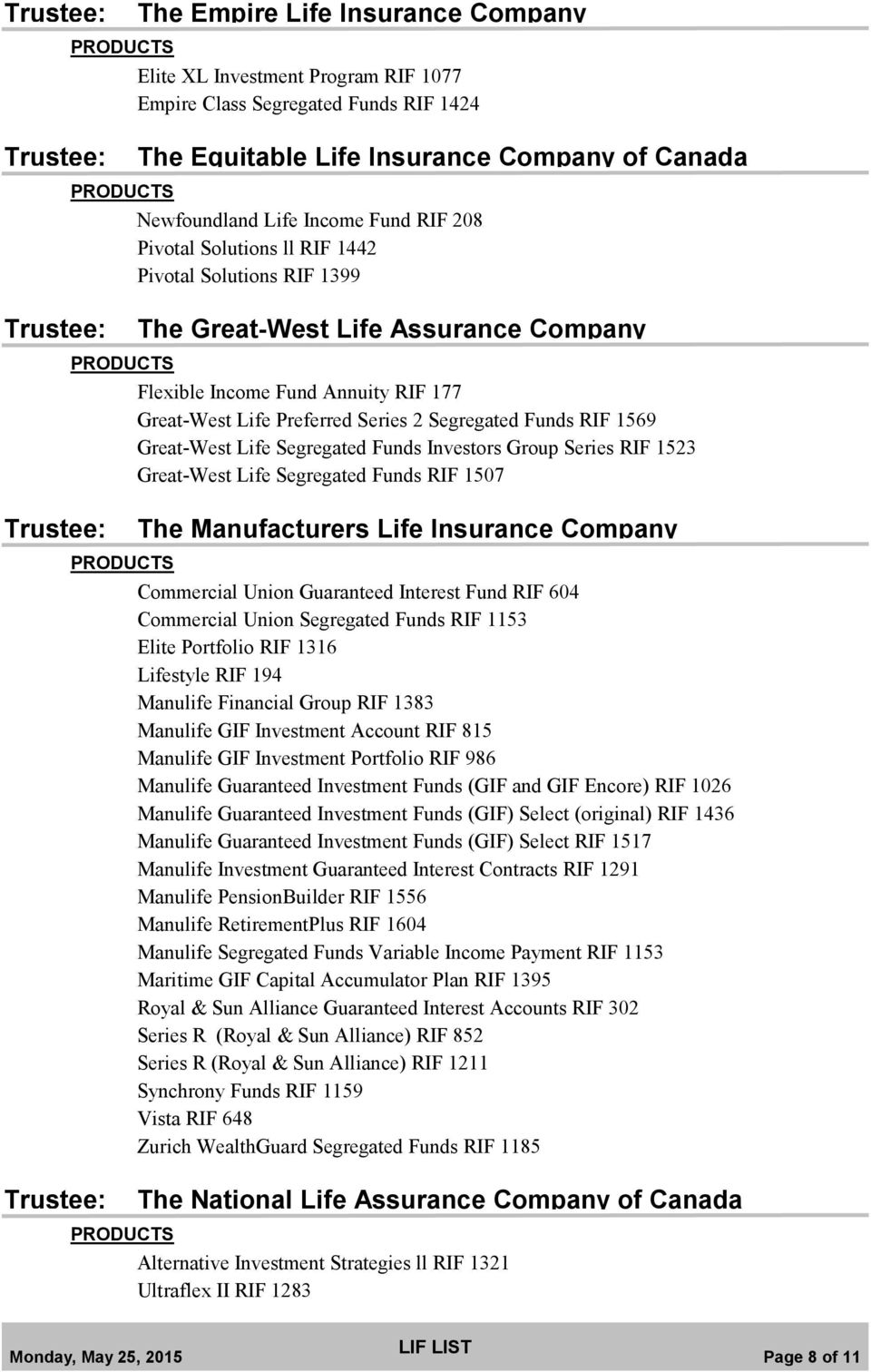 Great-West Life Segregated Funds Investors Group Series RIF 1523 Great-West Life Segregated Funds RIF 1507 The Manufacturers Life Insurance Company Commercial Union Guaranteed Interest Fund RIF 604