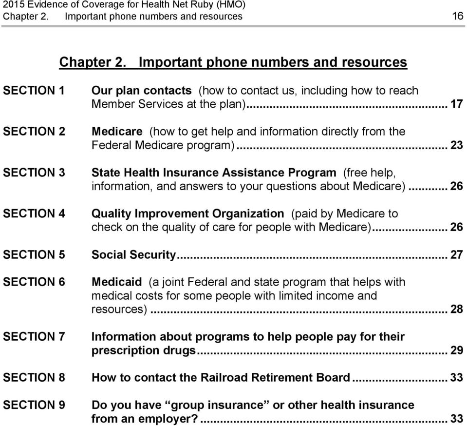 .. 17 Medicare (how to get help and information directly from the Federal Medicare program).