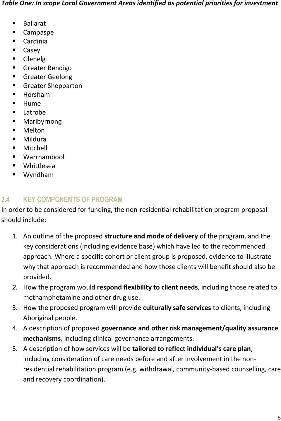 4 KEY COMPONENTS OF PROGRAM In order to be considered for funding, the non-residential rehabilitation program proposal should include: 1.