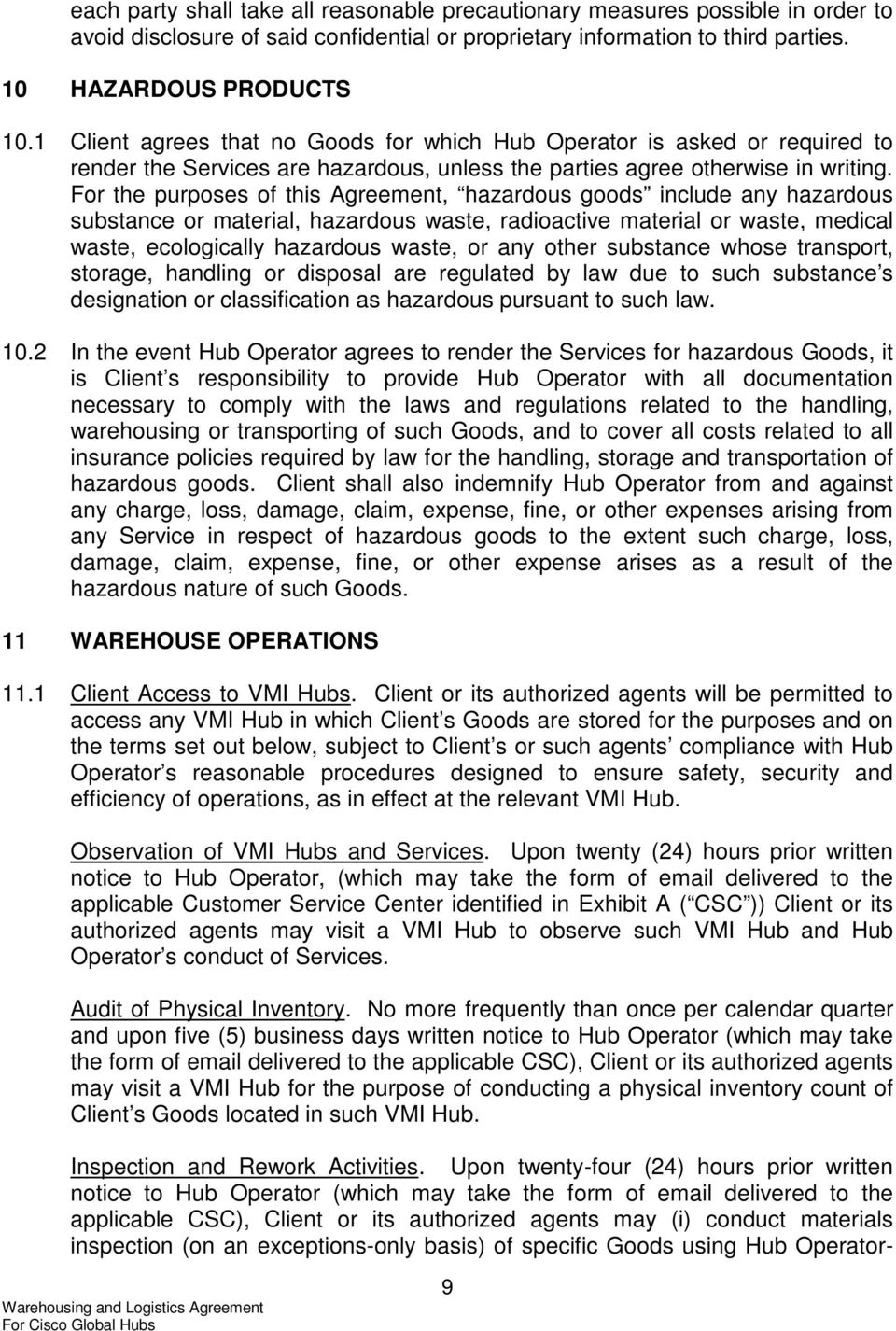 Warehousing And Logistics Agreement For Cisco Global Hubs Pdf
