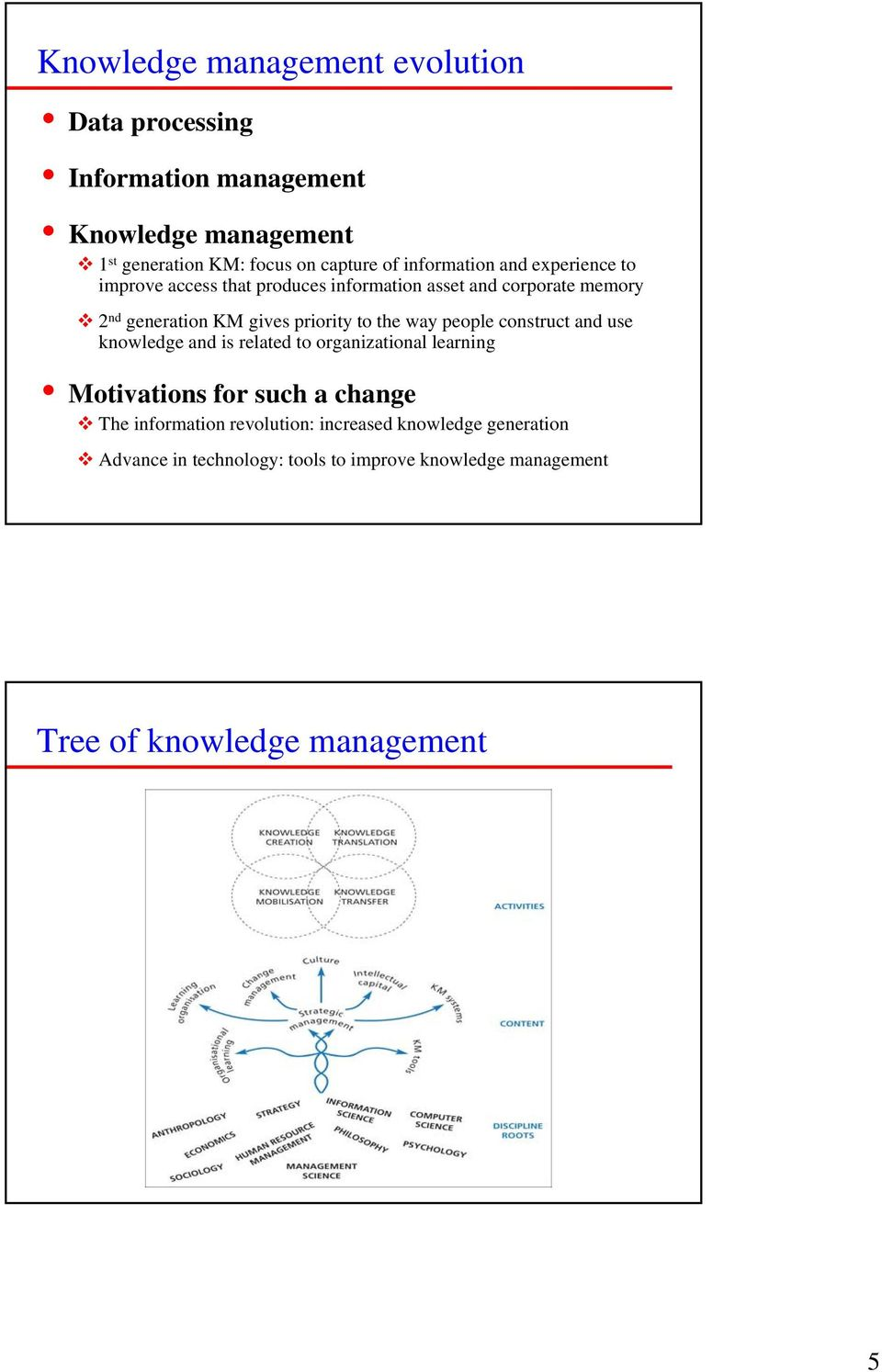 to the way people construct and use knowledge and is related to organizational learning Motivations for such a change The