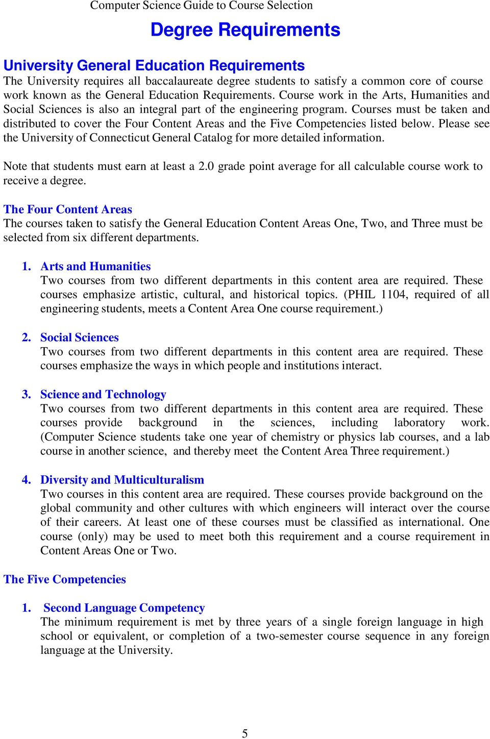 Courses must be taken and distributed to cover the Four Content Areas and the Five Competencies listed below. Please see the University of Connecticut General Catalog for more detailed information.
