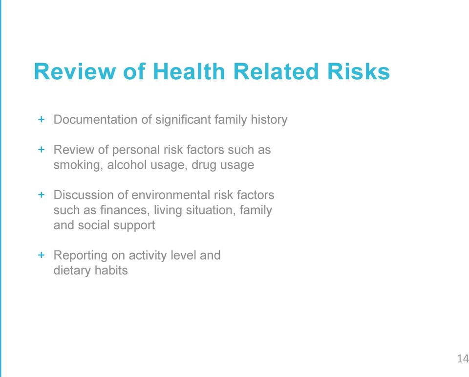 Discussion of environmental risk factors such as finances, living situation, family
