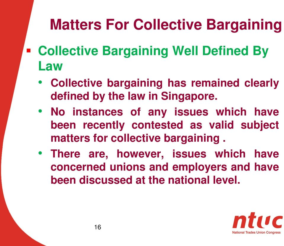 collective bargaining policy and practices in singapore. presented