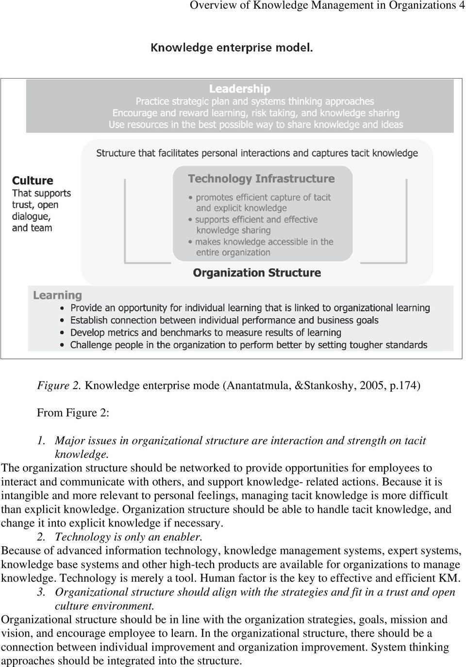 The organization structure should be networked to provide opportunities for employees to interact and communicate with others, and support knowledge- related actions.