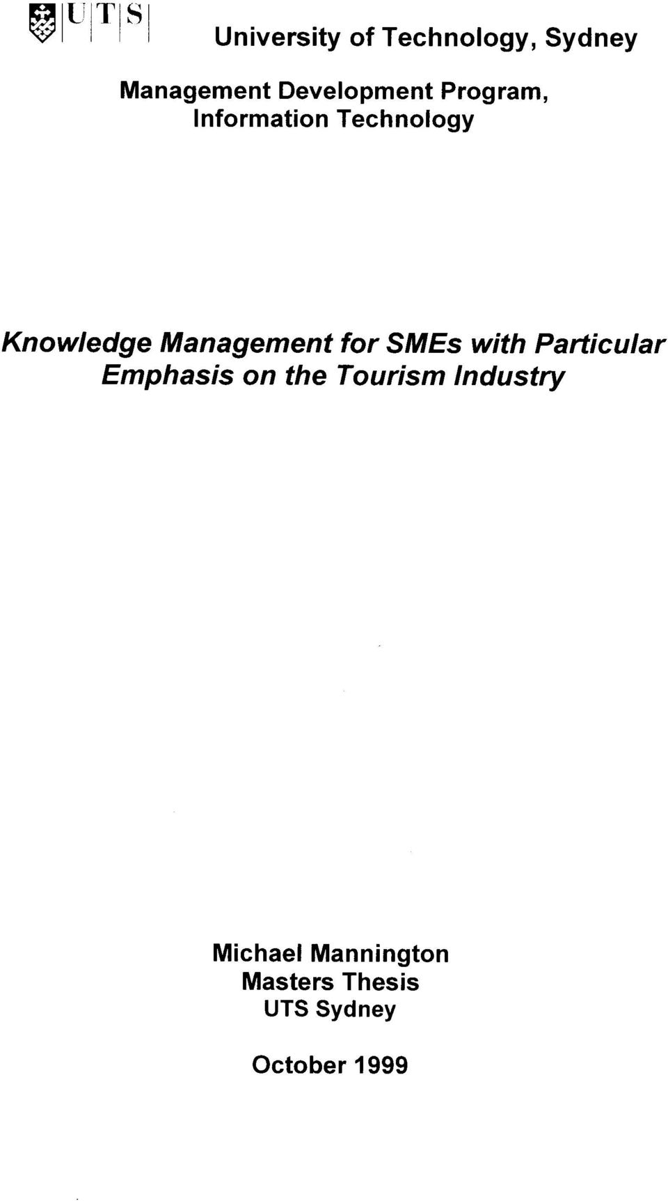 for SMEs with Particular Emphasis on the Tourism