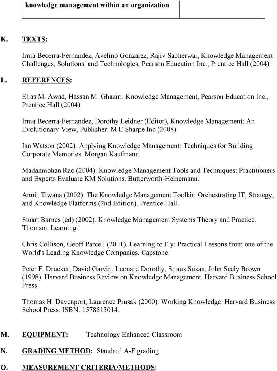 Applying Knowledge Management: Techniques for Building Corporate Memories. Morgan Kaufmann. Madanmohan Rao (2004).