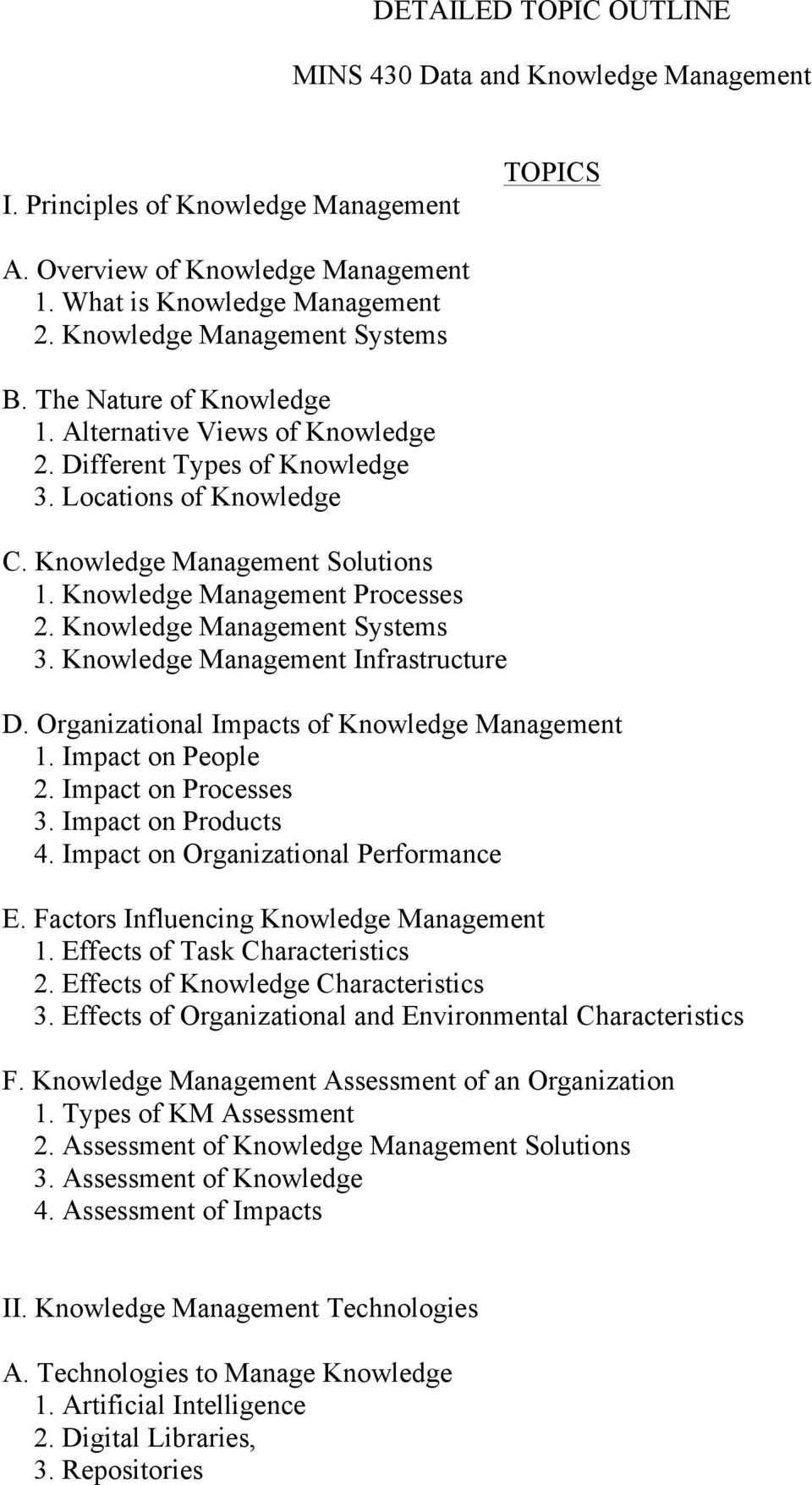 Knowledge Management Processes 2. Knowledge Management Systems 3. Knowledge Management Infrastructure D. Organizational Impacts of Knowledge Management 1. Impact on People 2. Impact on Processes 3.