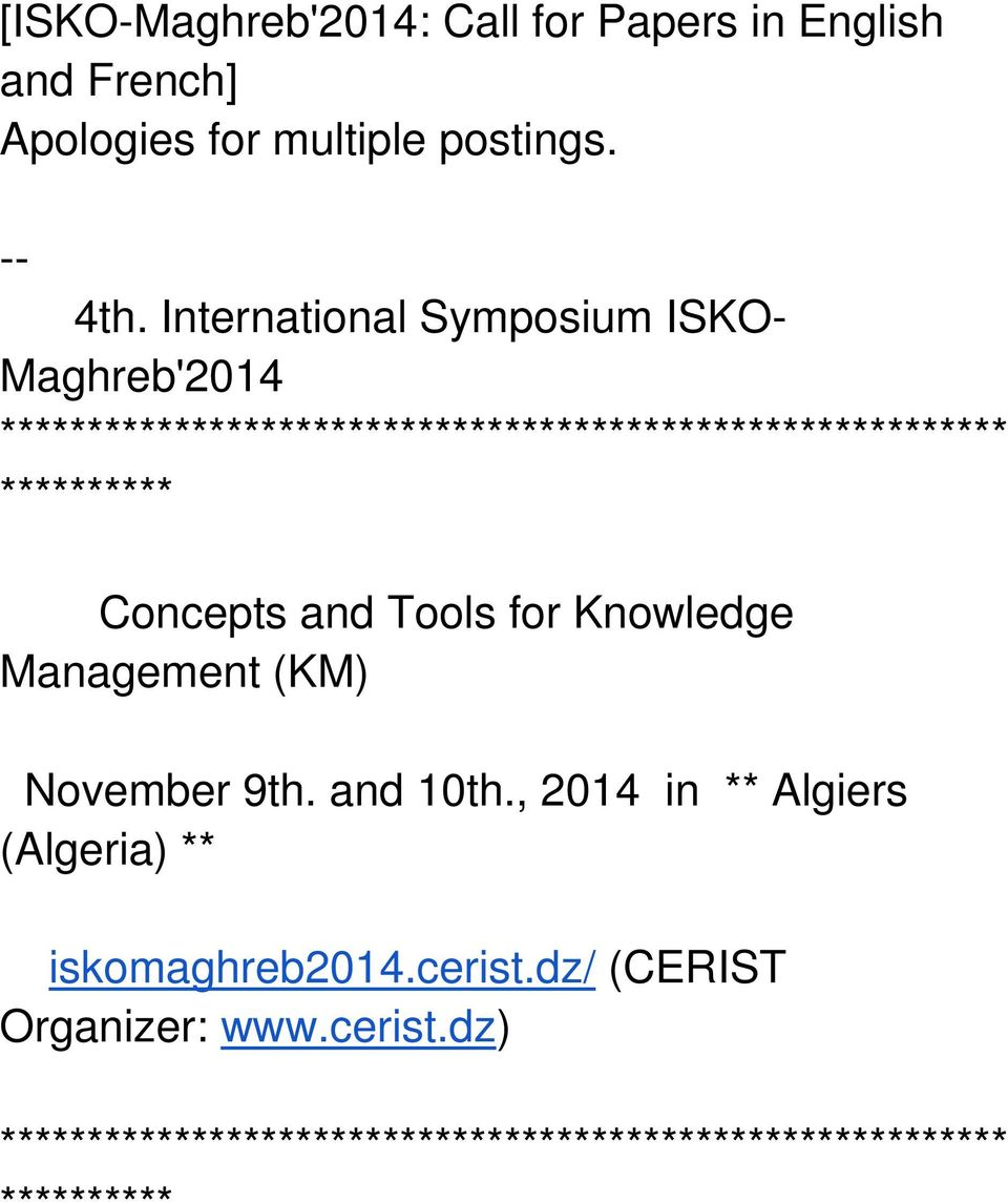 International Symposium ISKO- Maghreb'2014 ********** ********** Concepts and Tools for