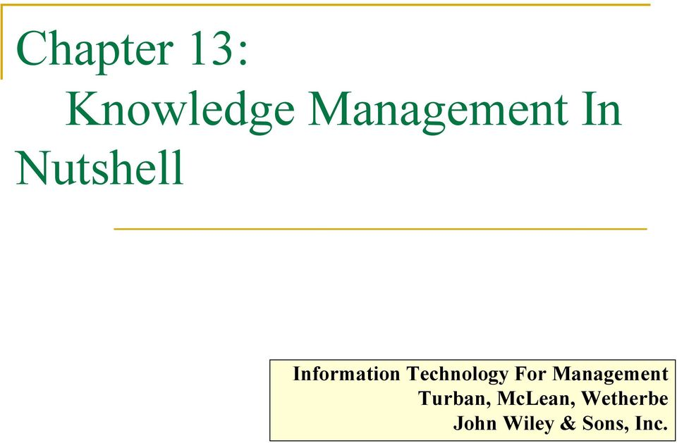 Technology For Management