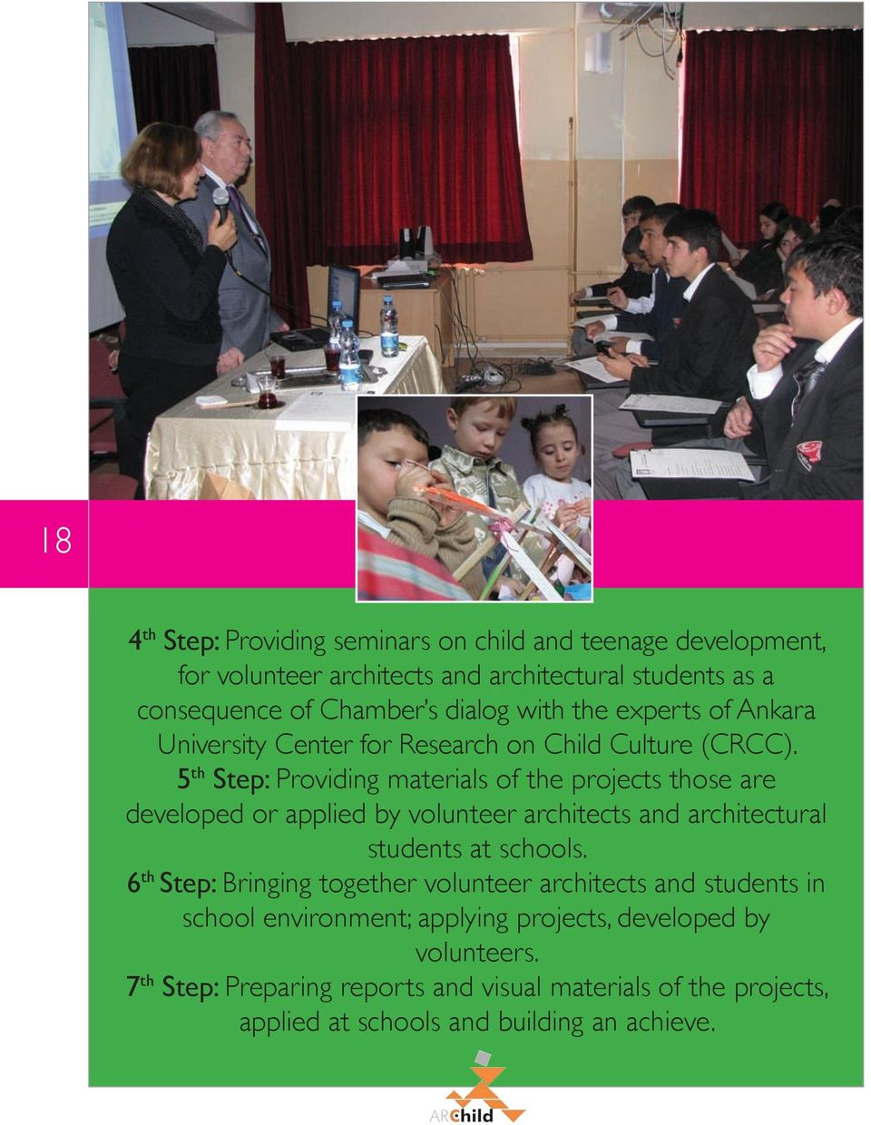 5 th Step: Providing materials of the projects those are developed or applied by volunteer architects and architectural students at schools.