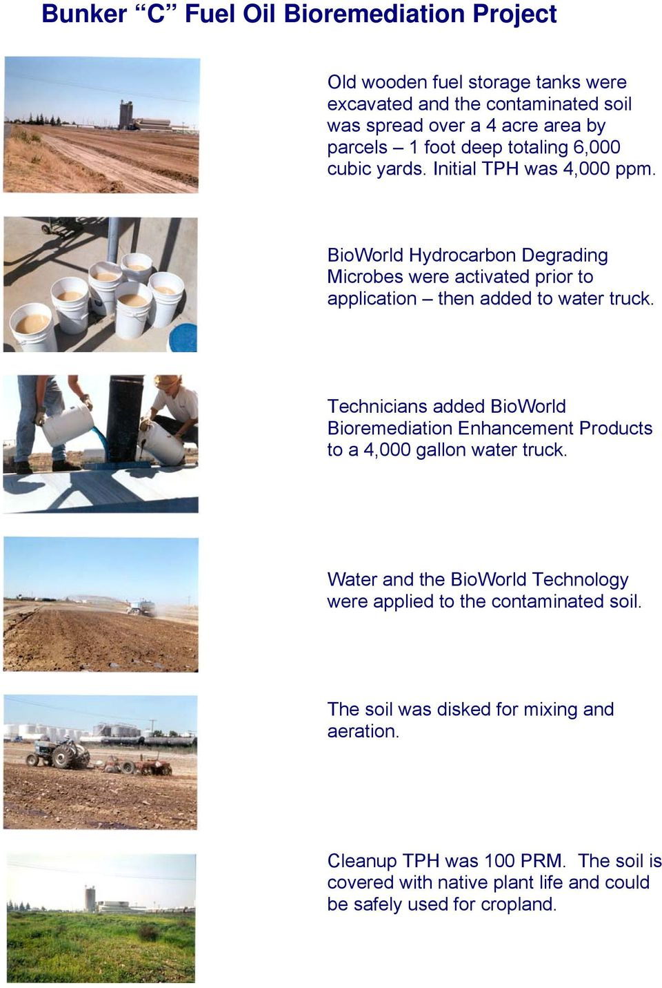 BioWorld Hydrocarbon Degrading Microbes were activated prior to application then added to water truck.
