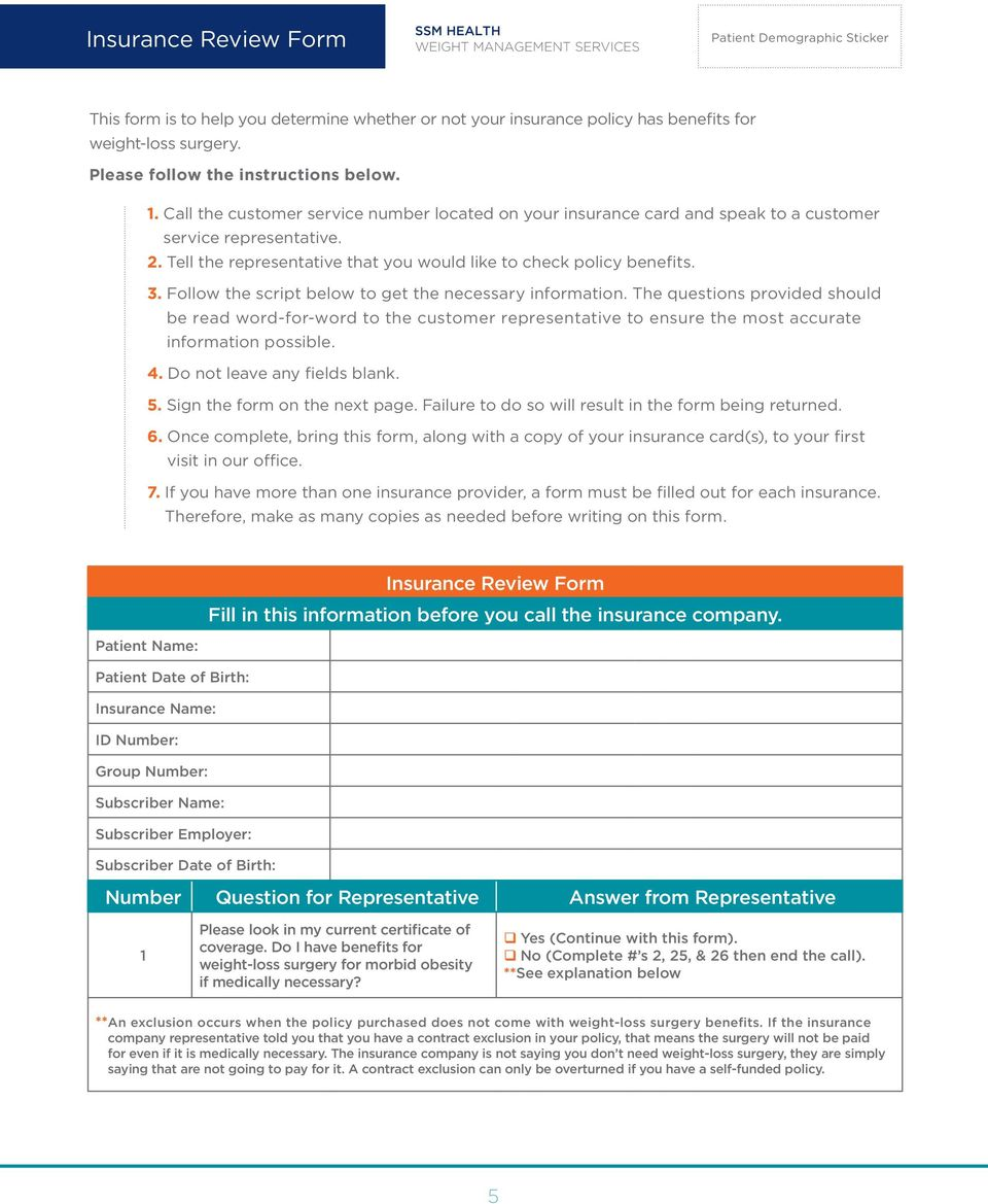 Ssmhealthillinoisweight Management Weight Loss Surgery Packet
