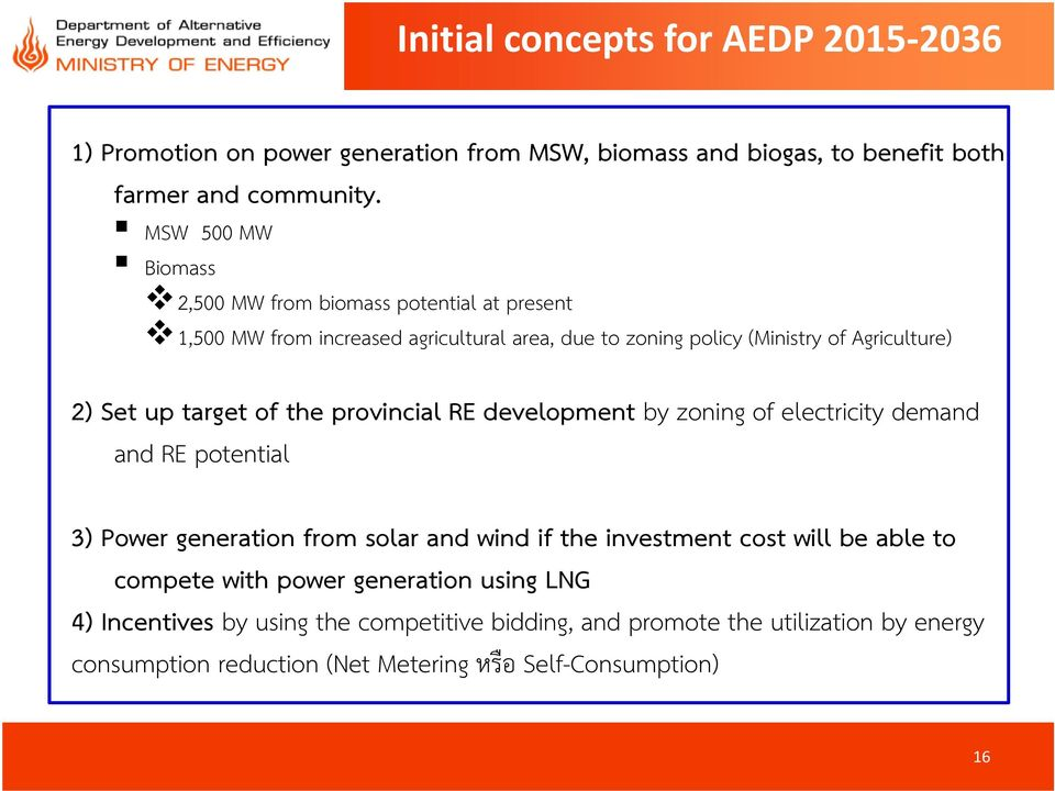target of the provincial RE development by zoning of electricity demand and RE potential 3) Power generation from solar and wind if the investment cost will be