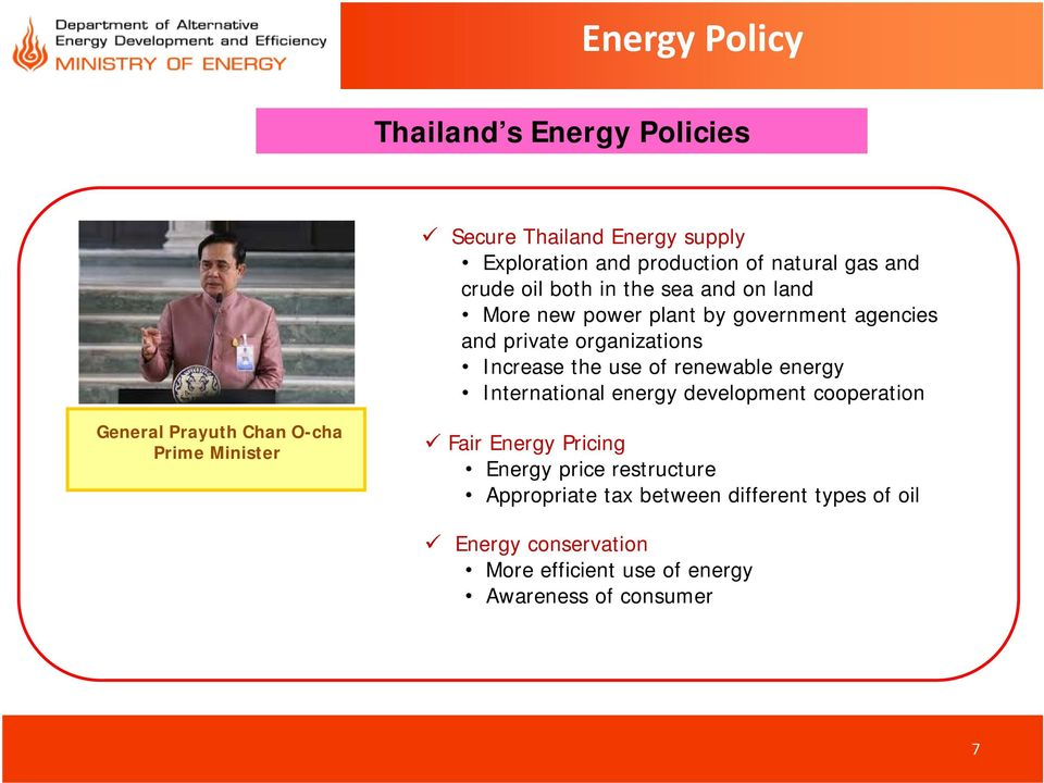 energy International energy development cooperation General Prayuth Chan O-cha Prime Minister Fair Energy Pricing Energy price