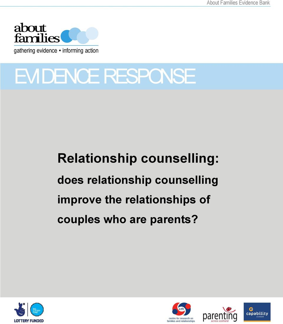 relationship counselling improve the relationships of couples who
