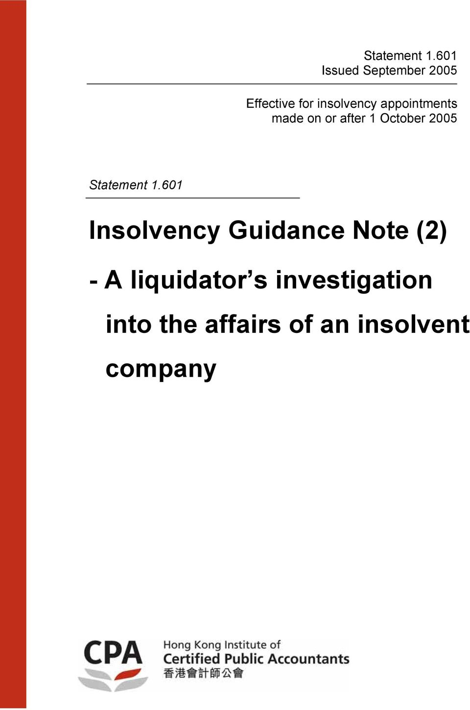 2005 Statement Insolvency Guidance Note (2) - A