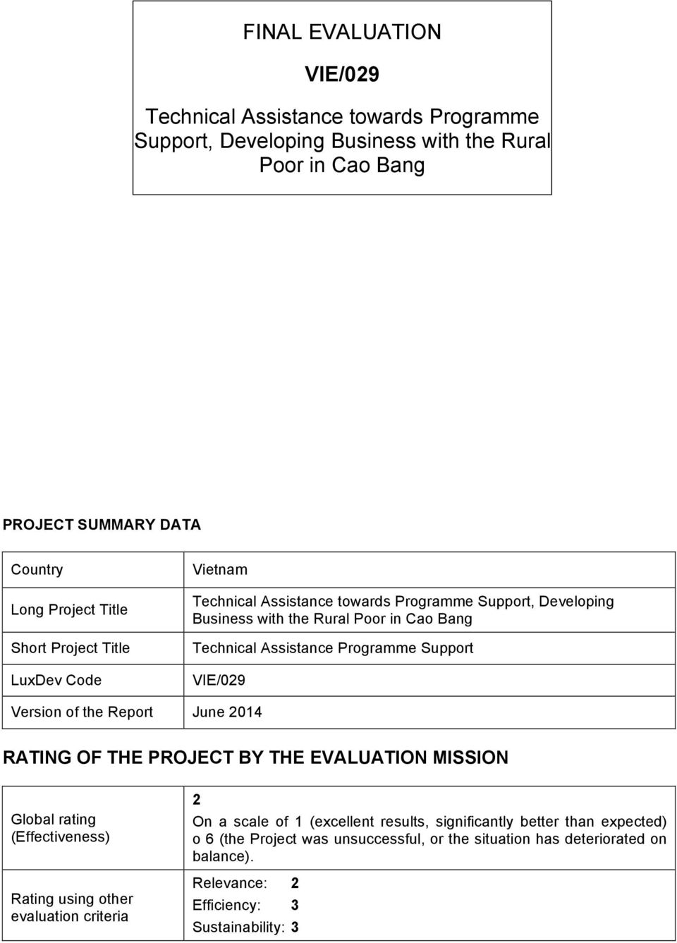 Support VIE/029 Version of the Report June 2014 RATING OF THE PROJECT BY THE EVALUATION MISSION Global rating (Effectiveness) Rating using other evaluation criteria 2 On a scale