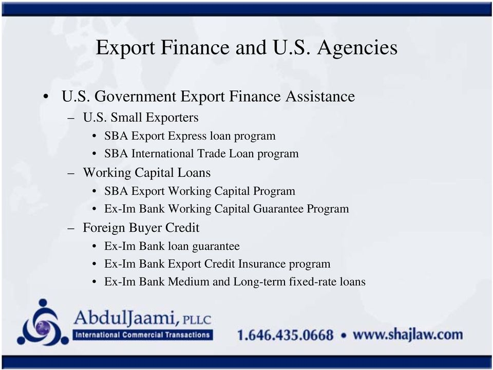 Government Export Finance Assistance U.S.