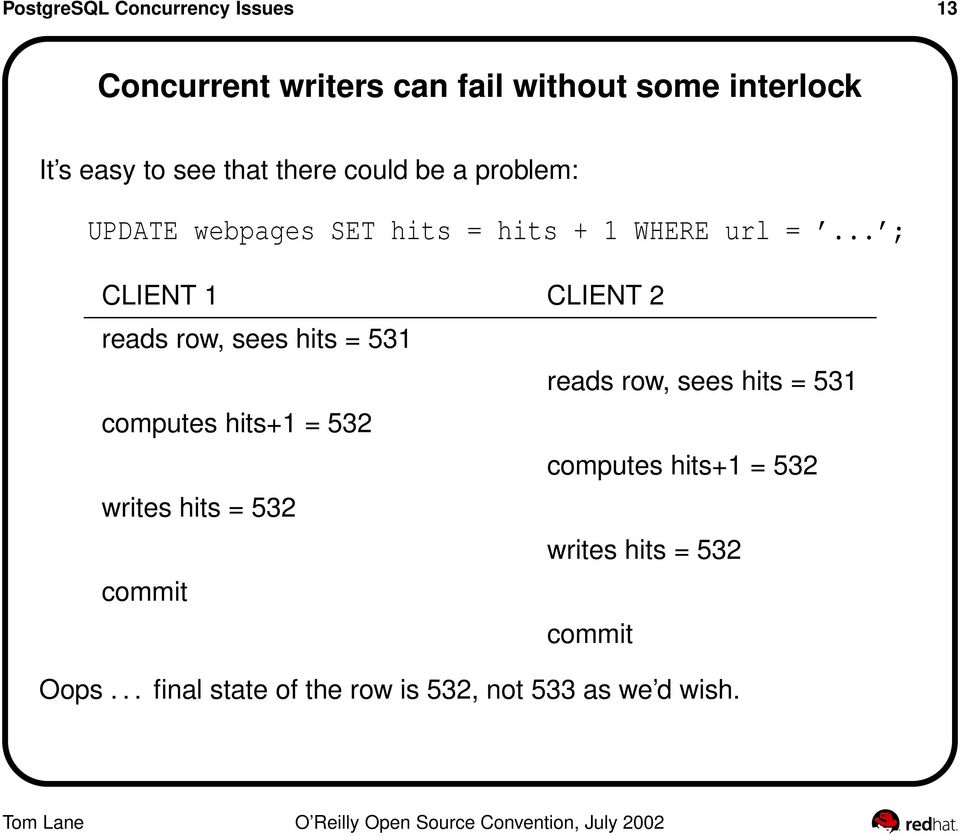 .. ; CLIENT 1 CLIENT 2 reads row, sees hits = 531 reads row, sees hits = 531 computes hits+1 = 532